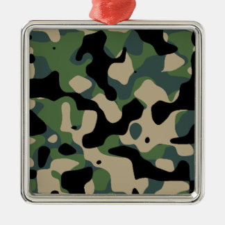 Camouflaged standard jungle metal ornament