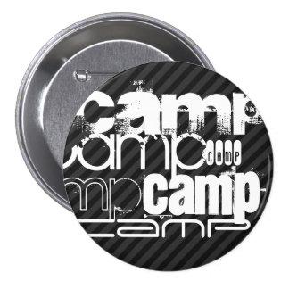 Camp; Black & Dark Gray Stripes 3 Inch Round Button
