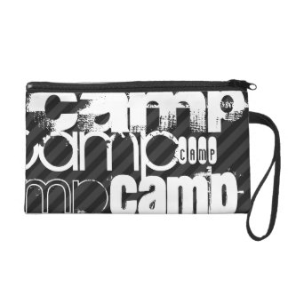 Camp; Black & Dark Gray Stripes Wristlet