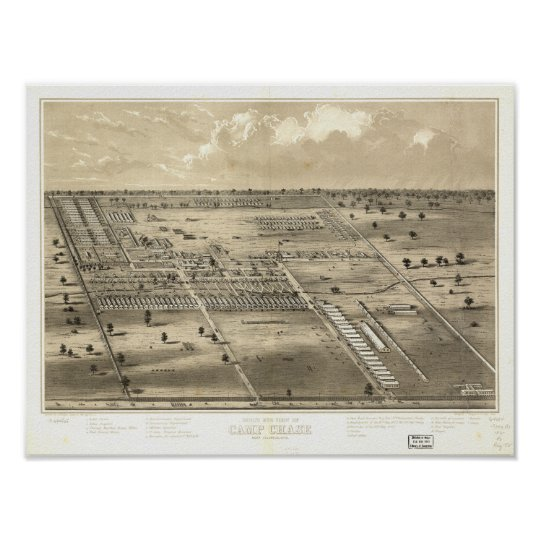 Camp Chase Ohio 186? Antique Panoramic Map Poster