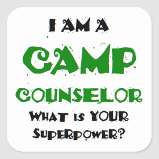 camp counselor square sticker