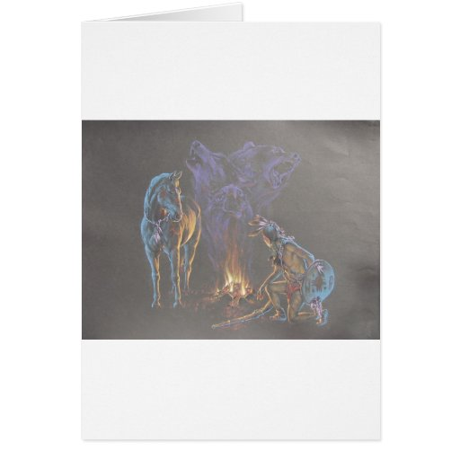 Camp Fire Native American Indian Warrior Greeting Card
