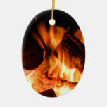 Camp Fire Double-Sided Oval Ceramic Christmas Ornament