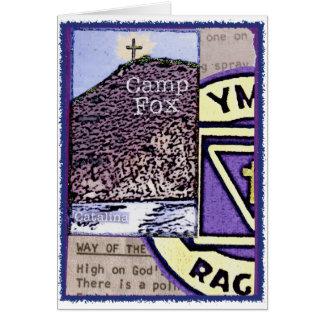 Camp Fox: Bibles Peak with Purples Raggers Logo Card