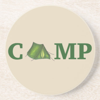 CAMP Green Camping Outdoor Tent Hiking Summer Camp Sandstone Coaster