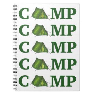 CAMP Green Tent Summer Camping Summer Camper Gift Spiral Notebook