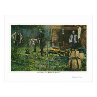Camp Ground Scene of Men Camping in Maine Postcard