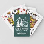 "Camp More, Worry Less | Custom Camping Playing Cards<br><div class=""desc"">Create a unique custom souvenir for your next family camping trip or outdoor adventure. Hunter green playing cards feature the outdoorsy quote &quot;camp more, worry less&quot; in distressed hunter green lettering beneath a hand drawn illustration of a camping tent set in a pine forest with a crescent moon rising over...</div>"