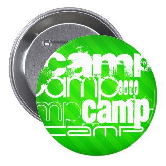 Camp; Neon Green Stripes 3 Inch Round Button