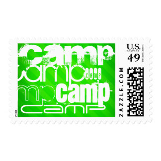 Camp; Neon Green Stripes Postage Stamp
