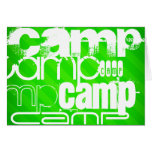 Camp; Neon Green Stripes Stationery Note Card