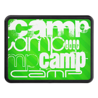 Camp; Neon Green Stripes Trailer Hitch Cover
