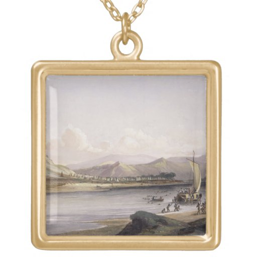 Camp of the Gros Ventres of the Prairies on the Up Square Pendant Necklace