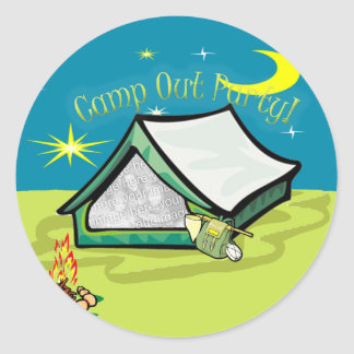 Camp Out Photo Party Card Classic Round Sticker