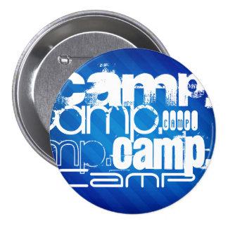 Camp; Royal Blue Stripes Pinback Buttons