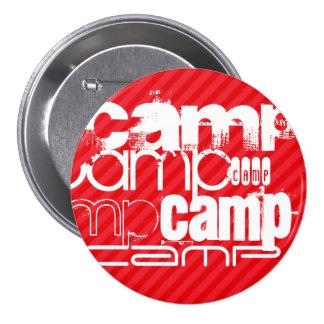 Camp; Scarlet Red Stripes 3 Inch Round Button