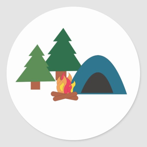 Camp Site Round Sticker