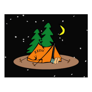 Camp Snore ~ Black & Starlike Background Postcard