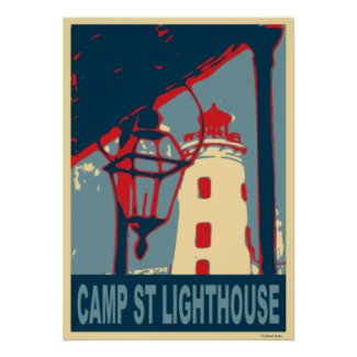 Camp St Lighthouse in Blue and Red.