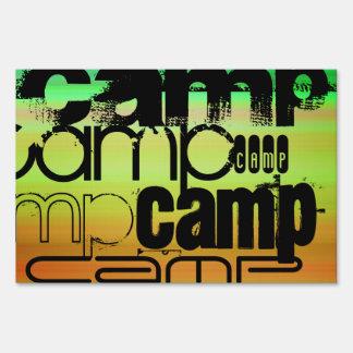Camp; Vibrant Green, Orange, & Yellow Lawn Sign