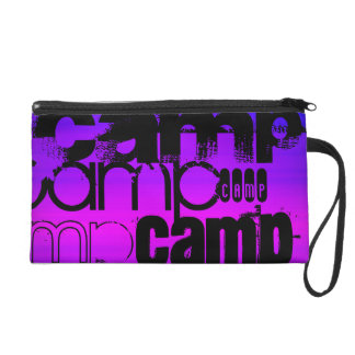 Camp; Vibrant Violet Blue and Magenta. Wristlet Purse