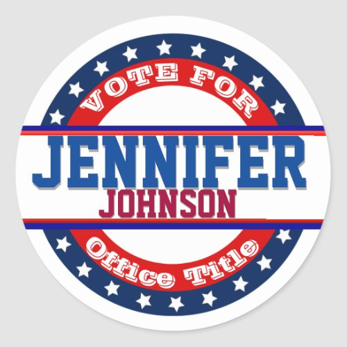 Campaign Election Template Classic Round Sticker
