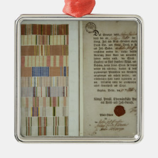 Campaign ribbons and record of duty metal ornament