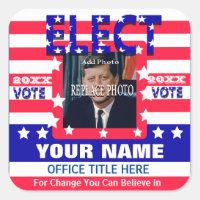Campaign Template | Stars Stripes Square Sticker