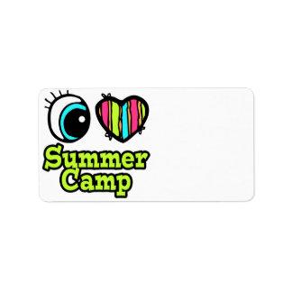 Campamento de verano brillante del amor del corazó etiquetas de dirección