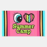 Campamento de verano brillante del amor del rectangular pegatina