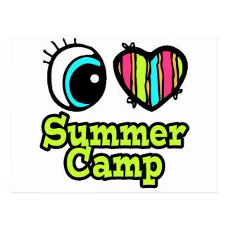 Campamento de verano brillante del amor del postales