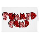 Campamento de verano en rojo tarjeton