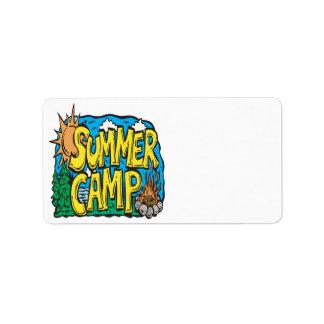 Campamento de verano etiquetas de dirección