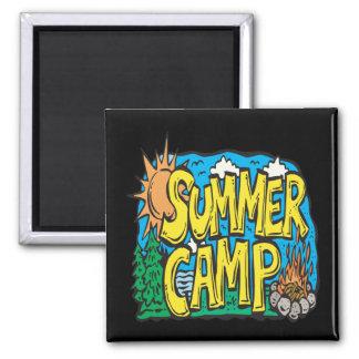 Campamento de verano imán cuadrado