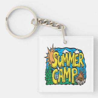 Campamento de verano llavero cuadrado acrílico a doble cara