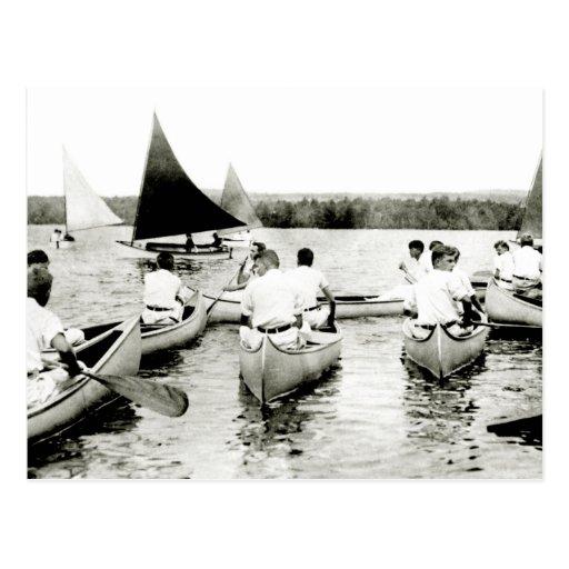 Campamento de verano para hombre joven 1925 postal