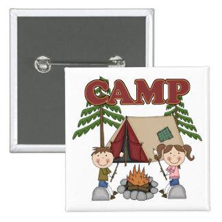 Campamento de verano pin cuadrada 5 cm