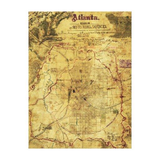 Campaña de Atlanta - mapa panorámico de la guerra  Lona Estirada Galerías