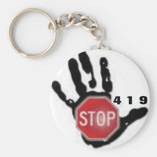 Campaña de la parada 419 llavero redondo tipo pin