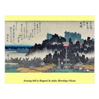 Campana de la tarde en Ikegami por Ando, Hiroshige Postales