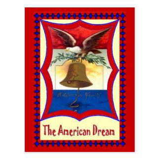 Campana de libertad y águila calva tarjetas postales