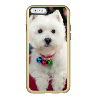 Campana de navidad del perrito que lleva en cuello funda para iPhone 6 plus incipio feather shine