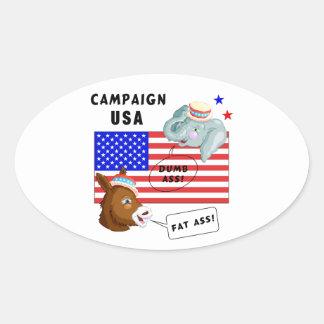 Campaña los E.E.U.U. del día de elección Pegatina Ovalada