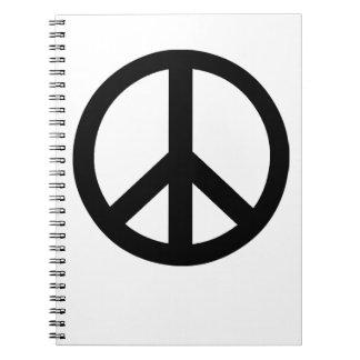 Campaña para el símbolo del desarme nuclear libro de apuntes con espiral