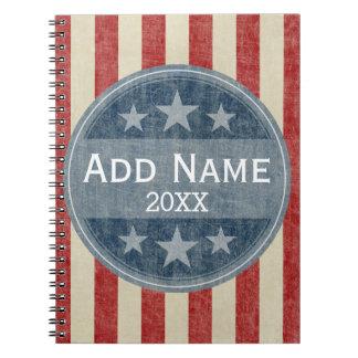 Campaña política - barras y estrellas del vintage libro de apuntes