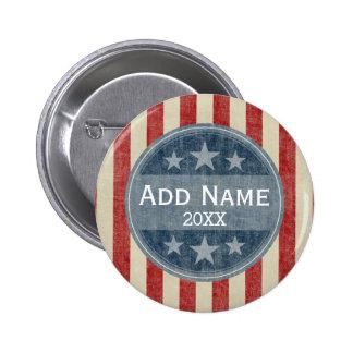 Campaña política - barras y estrellas del vintage pin redondo de 2 pulgadas