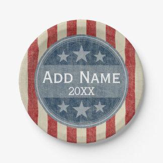 Campaña política - barras y estrellas del vintage plato de papel de 7 pulgadas