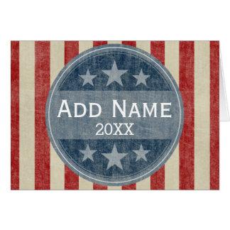 Campaña política - barras y estrellas del vintage tarjeta de felicitación