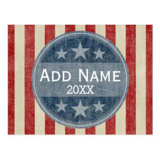 Campaña política - barras y estrellas del vintage tarjeta postal