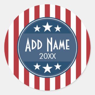 Campaña política - barras y estrellas patrióticas pegatina redonda